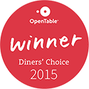 OpenTable 2015 diners choice award winner